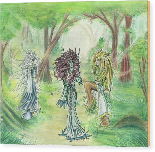 The Fae - Sylvan Creatures Of The Forest Wood Print