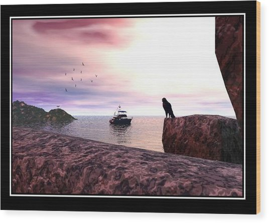 The Falcon At The Beach Wood Print by William  Ballester