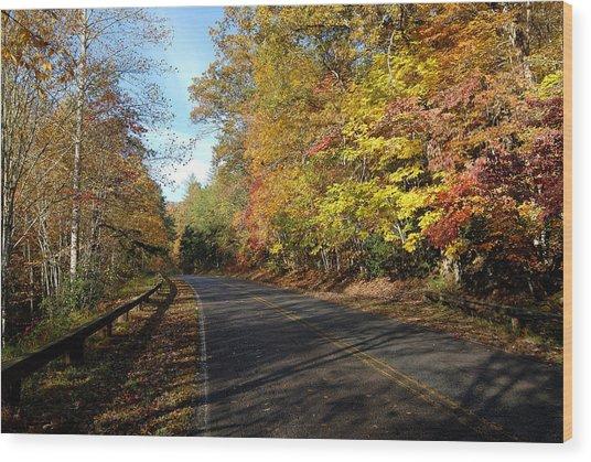 The Fall Drive Wood Print