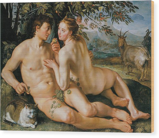 The Fall Of Man Wood Print by Hendrik Goldzius