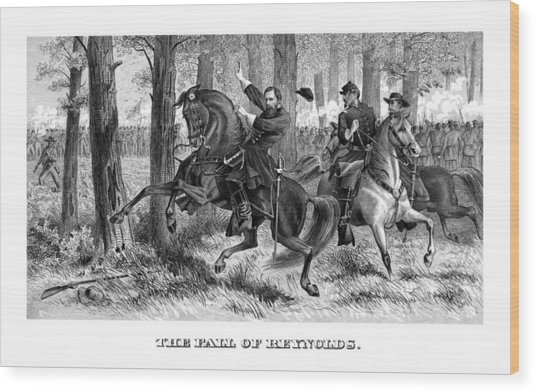 The Fall Of Reynolds - Civil War Wood Print
