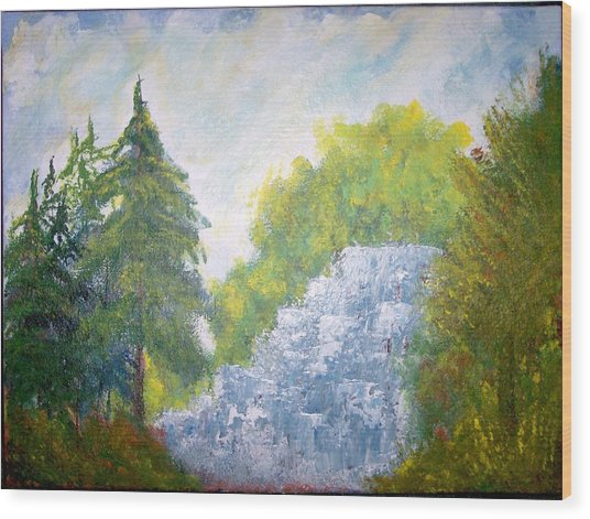 The Falls Wood Print by Eugene Coderre