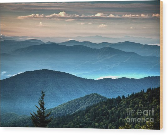 The Far Blue Smoky Mtns. Wood Print