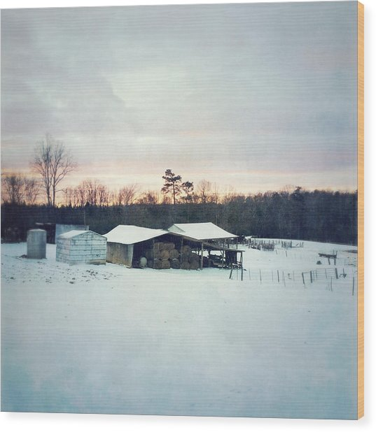 The Farm In Snow At Sunset Wood Print
