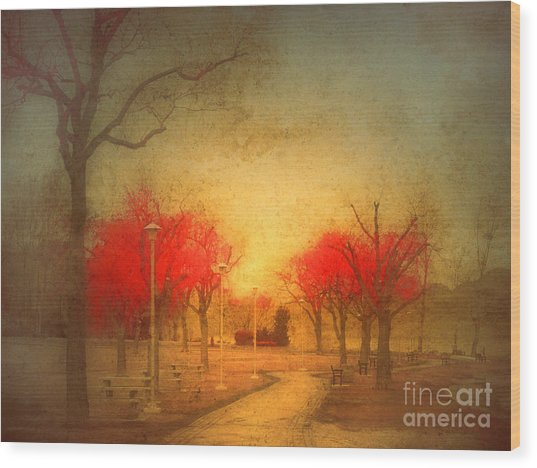The Fire Trees Wood Print