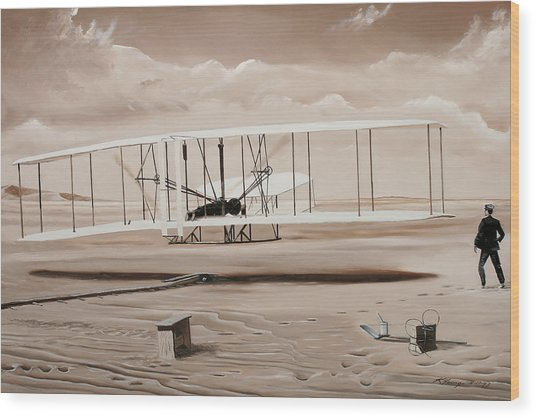 The First To Fly Wood Print by Kenneth Young