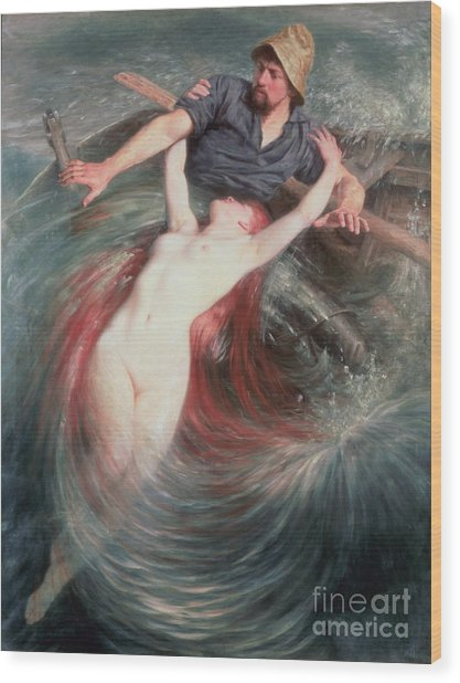 The Fisherman And The Siren Wood Print