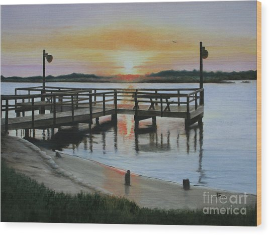 The Fishing Pier Wood Print