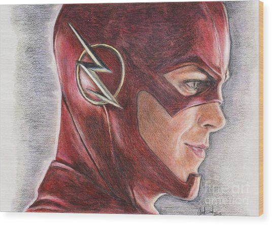 The Flash / Grant Gustin Wood Print