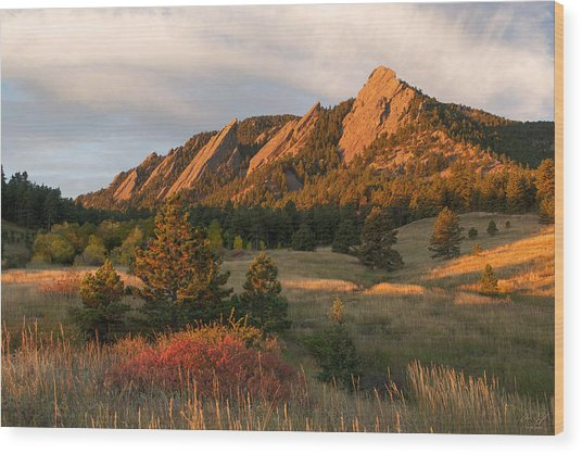 The Flatirons - Autumn Wood Print