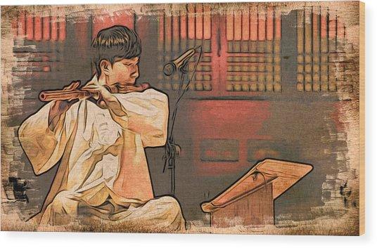 The Flautist Wood Print