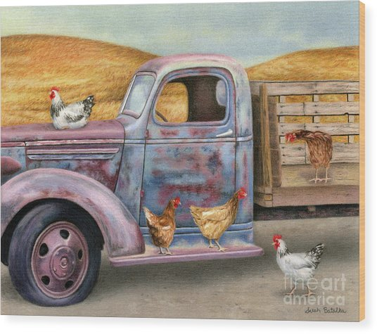 Where The Hens Gather  Wood Print