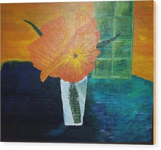 The Flowers In The Vase Wood Print by Roy Penny