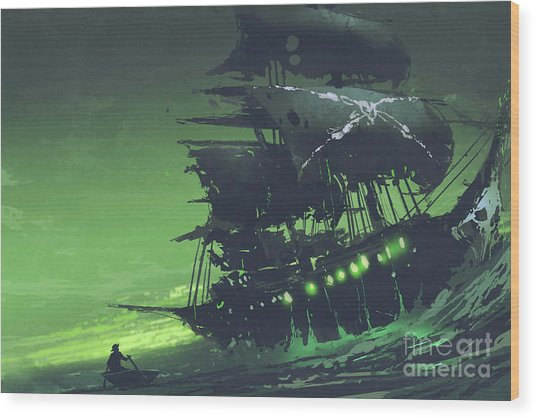 Wood Print featuring the painting The Flying Dutchman by Tithi Luadthong