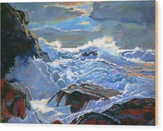 The Foaming Sea Wood Print by David Lloyd Glover