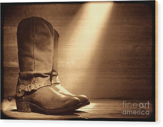 The Found Boots Wood Print