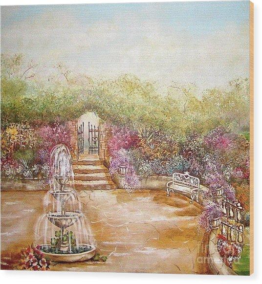 The Fountain Wood Print by Elizabeth Gomez