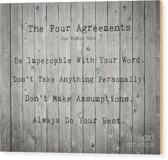 The Four Agreements 12 Wood Print