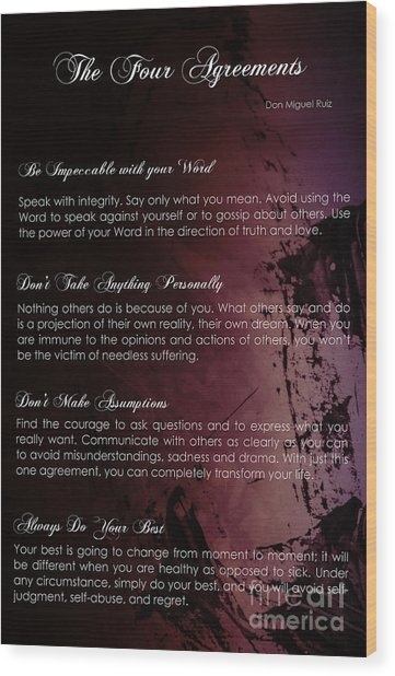 The Four Agreements 3 Wood Print