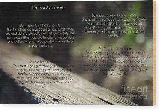 The Four Agreements 4 Wood Print