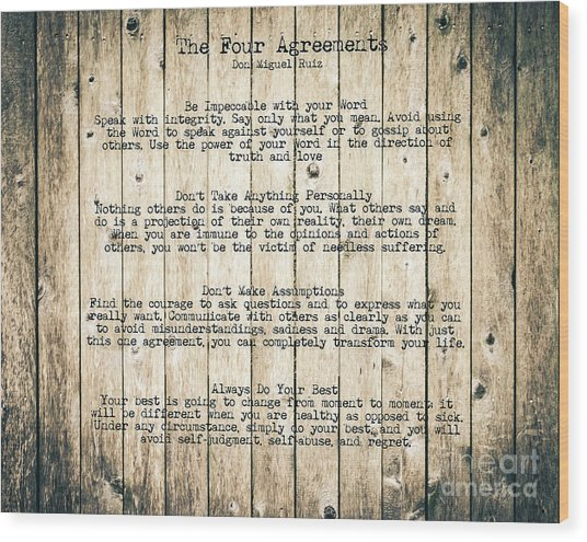 The Four Agreements 8 Wood Print