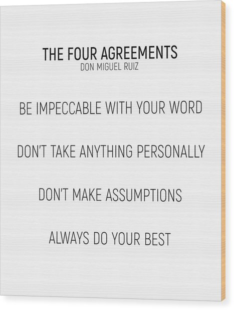 The Four Agreements #minismalism #shortversion Wood Print