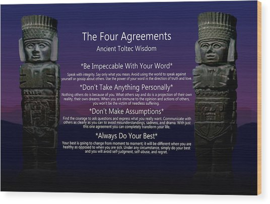 The Four Agreements Poster Wood Print