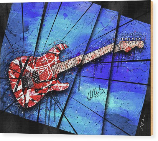 The Frankenstrat On Blue I Wood Print