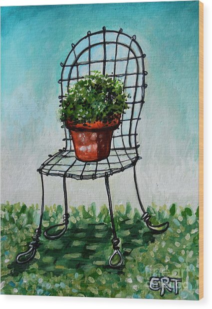 The French Garden Cafe Chair Wood Print