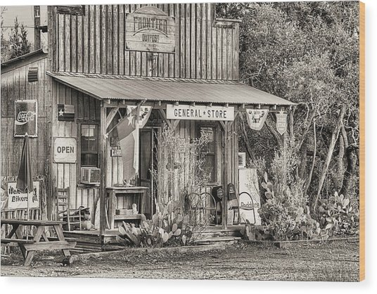 The Frontier Outpost General Store Black And White Wood Print by JC Findley