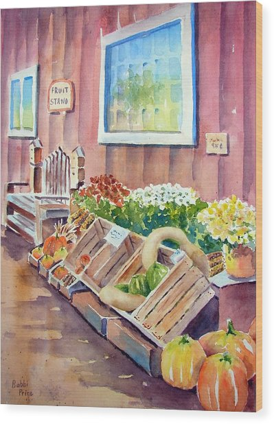The Fruit Stand Wood Print by Bobbi Price