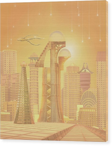 The Future Is Golden Wood Print