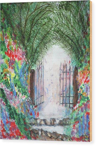 The Garden Gate Wood Print by Ann Ingham