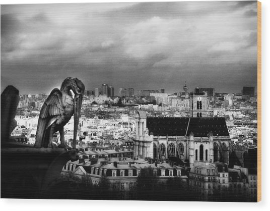The Gargoyles Of Notre Dame Wood Print by Cabral Stock