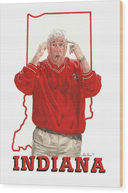 The General Bob Knight Wood Print
