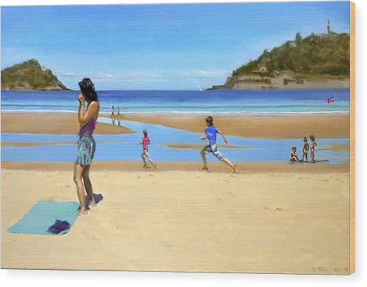 The Girl At La Concha Beach Wood Print by Gordon Bell