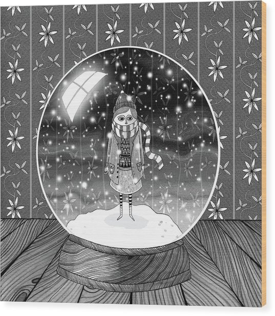 The Girl In The Snow Globe  Wood Print