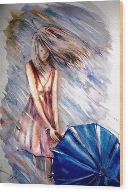 The Girl With A Blue Umbrella Wood Print