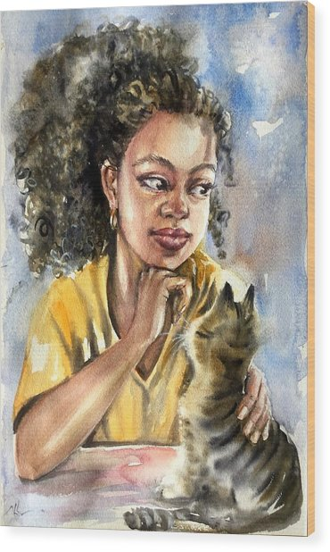 The Girl With A Cat Wood Print