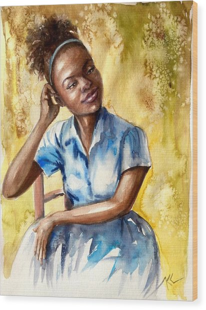 The Girl With The Blue Dress Wood Print