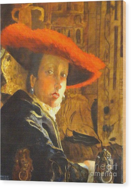 The Girl With The Red Hat After Jan Vermeer Wood Print