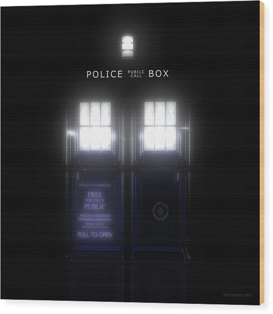 The Glass Police Box Wood Print