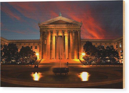 The Golden Columns - Philadelphia Museum Of Art - Sunset Wood Print
