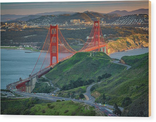The Golden Gate At Sunset Wood Print