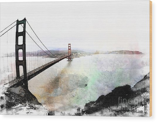 The Golden Gate From The Marin Headlands Wood Print