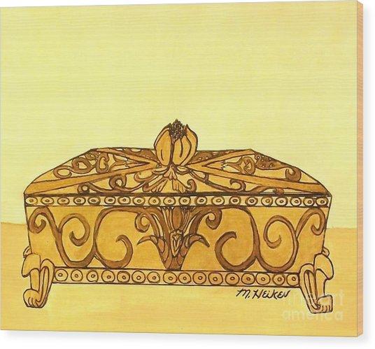 The Golden Jewelry Box Wood Print by Marsha Heiken