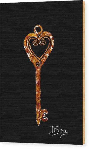 The Golden Key Wood Print