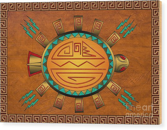 The Golden Spirit Turtle Wood Print
