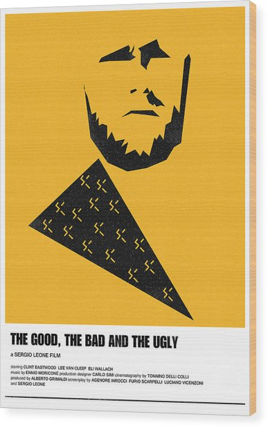 The Good Bad Ugly Clint Eastwood Poster Wood Print