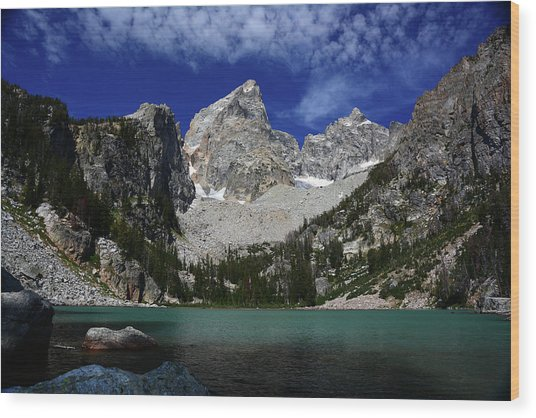 The Grand And Mount Owen From Delta Lake Wood Print